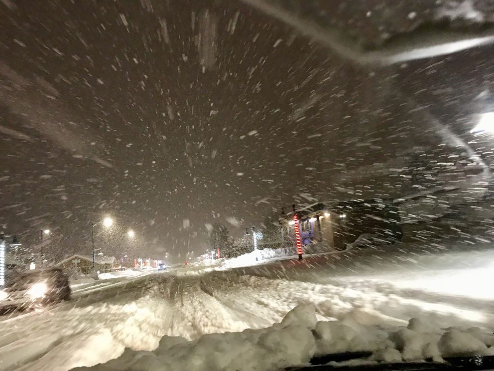 A view through a windshield shows how fast the snow was coming down in Valdez, Wednesday morning. (Photo provided by DOT)