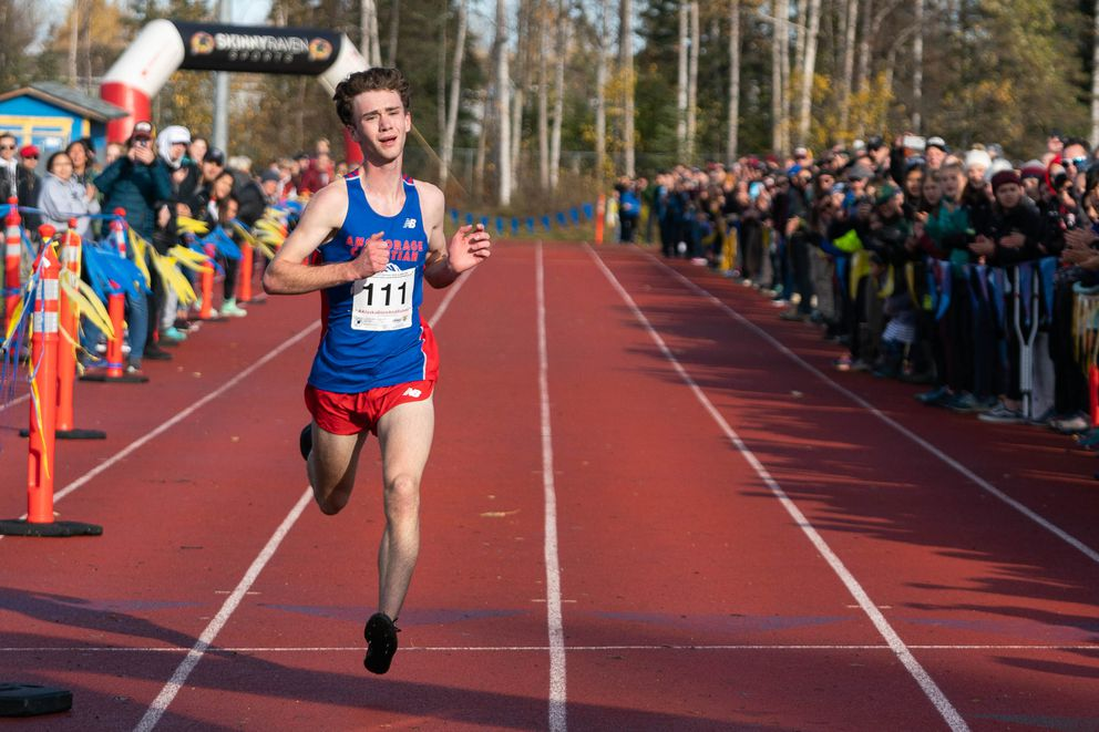 Anchorage Christian's Tristian Merchant wins the Alaska high school cross-country running championship on Oct. 5, 2019 at Bartlett High. (Loren Holmes / ADN archive 2019)