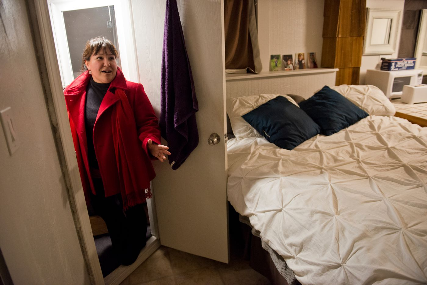 Michelle Sparck, an aide for Rep. Zach Fansler of Bethel, said the basement apartment she rents has just one room and a very tiny bathroom, but she was thrilled to find it after looking at some less appealing options in Juneau. (Marc Lester / Alaska Dispatch News)