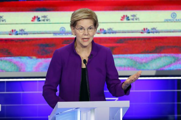 Democratic presidential candidate Sen. Elizabeth Warren, D-Mass., speaks during a Democratic primary debate hosted by NBC News at the Adrienne Arsht Center for the Performing Art, Wednesday, June 26, 2019, in Miami. (AP Photo/Wilfredo Lee)