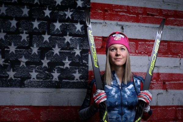 Cross-country skier Sadie Bjornsen poses for a portrait at the U.S. Olympic Committee Media Summit in Park City, Utah, on Sept. 27. (Lucy Nicholson / Reuters)