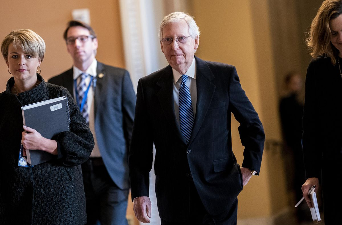 Senate Majority Leader Mitch McConnell walks back to the Senate floor after a break during the Senate Impeachment trial of President Donald Trump on Capitol Hill in Washington on Wednesday January 22, 2020. (Washington Post photo by Melina Mara)