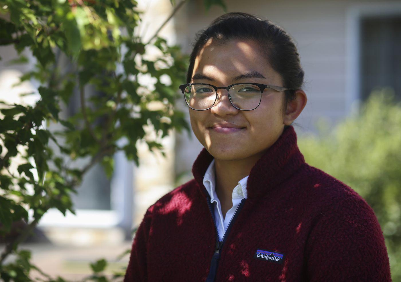 Bartlett High School student Allysa Wesierski outside her home in Anchorage, on Aug. 20, 2020. Wesierski started her senior year remotely due to the coronavirus pandemic. (Emily Mesner / ADN)