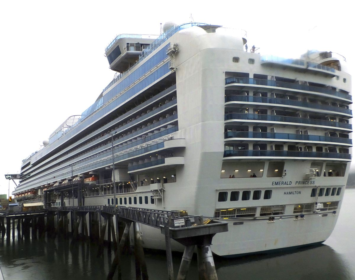 This July 26, 2017 photo shows the Emerald Princess cruise ship docked in Juneau. A federal judge on June 3, 2021, in Juneau sentenced Kenneth Manzanares to 30 years in prison for the beating death of his wife, Kristy Manzanares, while aboard the ship. Kenneth Manzanares was then found dead in a Juneau detention facility Wednesday, July 14, 2021. (AP Photo/Becky Bohrer, File)