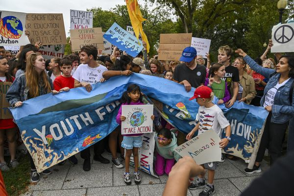 Young climate activists participate in a climate strike demonstration outside the White House on Sept. 13, 2019, in Washington, D.C. MUST CREDIT: Washington Post photo by Jahi Chikwendiu