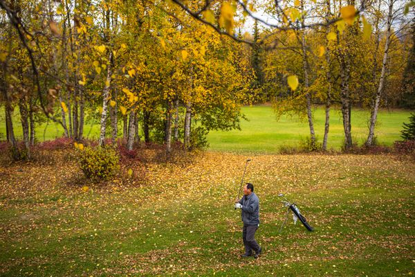Kwang Lee plays golf at Russian Jack Springs Park on Tuesday, Sept. 24, 2019. (Loren Holmes / ADN)