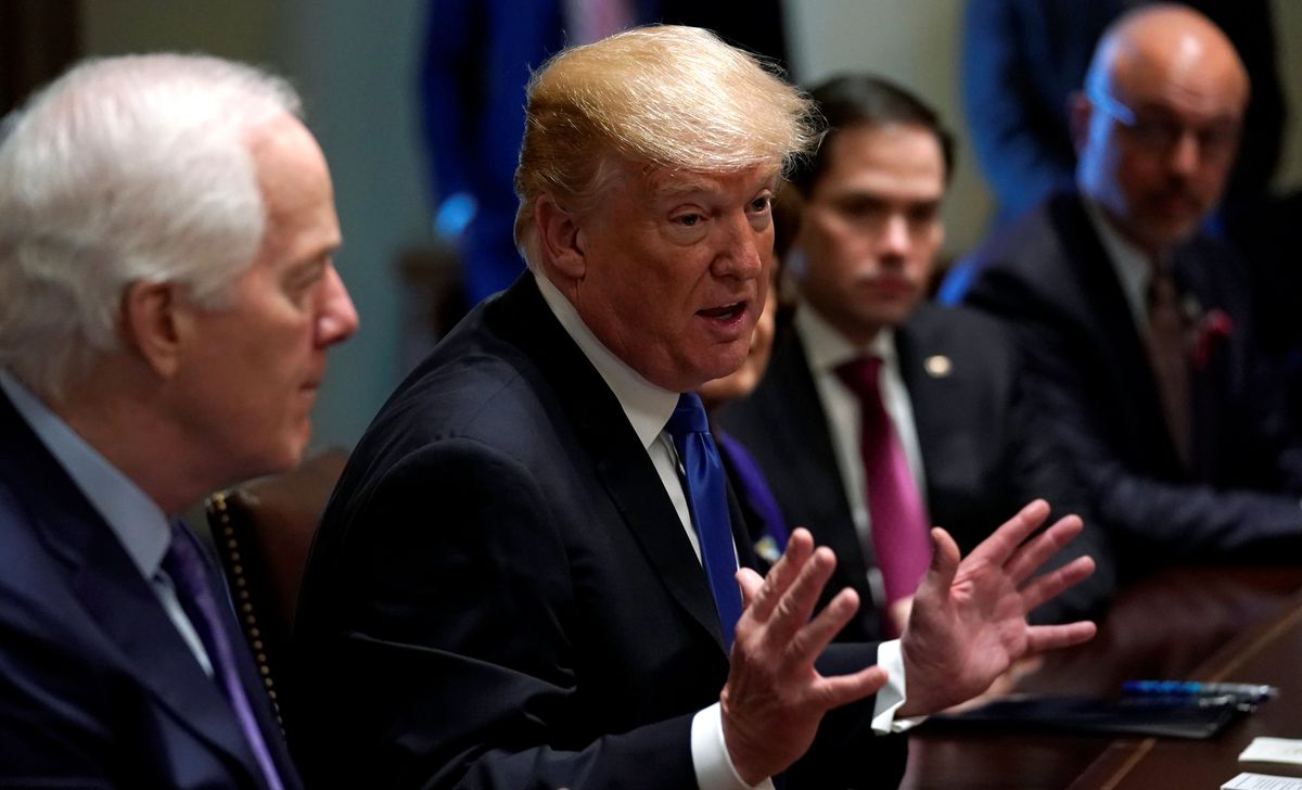 U.S. President Donald Trump meets with bi-partisan members of Congress to discuss school and community safety in the wake of the Florida school shootings at the White House in Washington, U.S., February 28, 2018. REUTERS/Kevin Lamarque