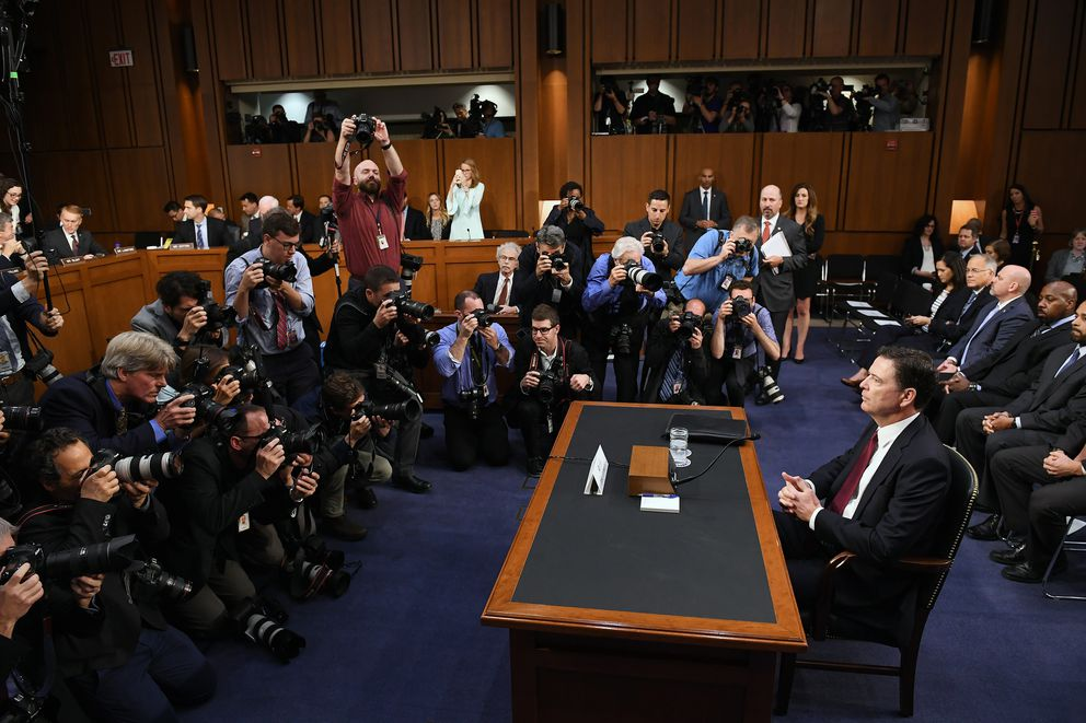 "Former FBI Director James Comey appears before the Senate Intelligence Committee in the Hart Office Building. Comey said he took copious notes of his talks with Trump because he was ""honestly concerned"" that the president might lie about what had been said in their meeting. (Washington Post photo by Matt McClain)"