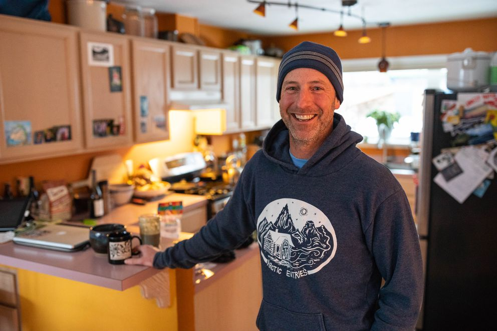 Matt Rafferty, co-host of Arctic Entries, at his home on Wednesday, April 4, 2018. Rafferty is stepping down as co-host after seven seasons. (Loren Holmes / ADN)