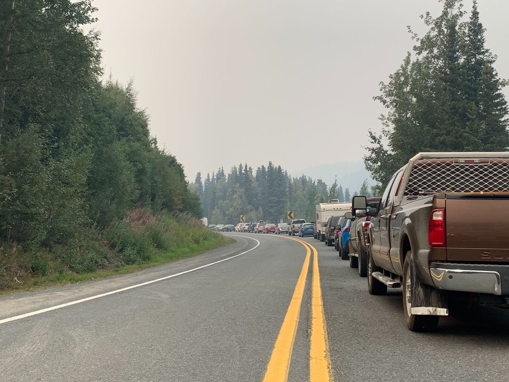 Traffic was backed up nearly a mile between miles 52 and 53 of the Sterling Highway near Cooper Landing Sunday afternoon. The highway was closed from the Swan Lake wildfire. (Jeff Parrott / ADN)