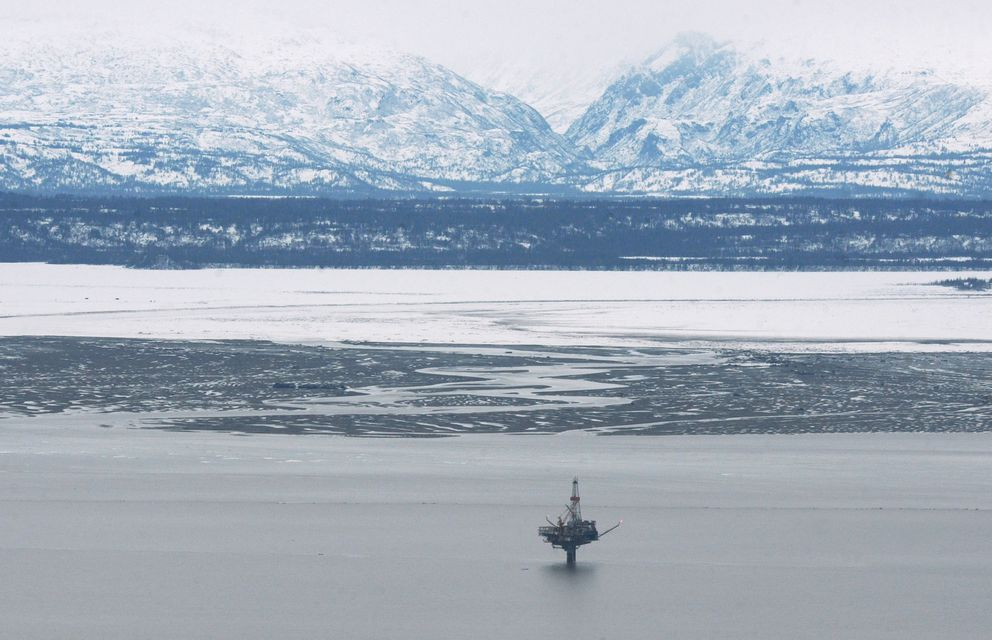 Hilcorp's Monopod platform on the west side of Cook Inlet on Sunday, April 2, 2017. (Bill Roth / ADN)