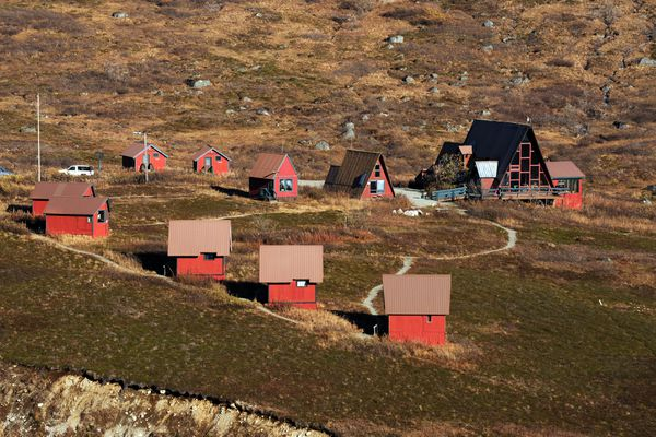 Hatcher Pass Lodge is viewed from Hatcher Pass Road on Thursday afternoon, October 6, 2016. (Erik Hill / Alaska Dispatch News)