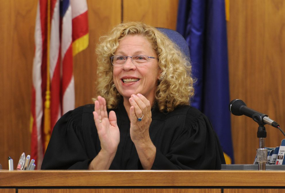 Judge Stephanie Rhoades presides over the Anchorage Mental Health Court on Monday. Rhoades retired from the bench Friday, Sept. 1, 2017. (Bill Roth / Alaska Dispatch News)