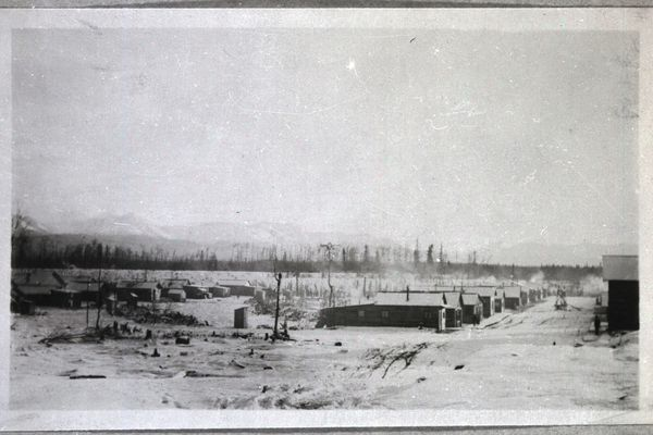Restricted District, Anchorage, Alaska showing crib houses arranged along the streets, community well in the center of street at the right. Nov. 1916. Eastchester area. (US Forest Service via National Archives Catalog)