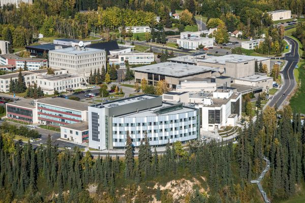 Construction has restarted in fall 2016, on the partially-completed engineering building at the University of Alaska Fairbanks. (Todd Paris / UAF)