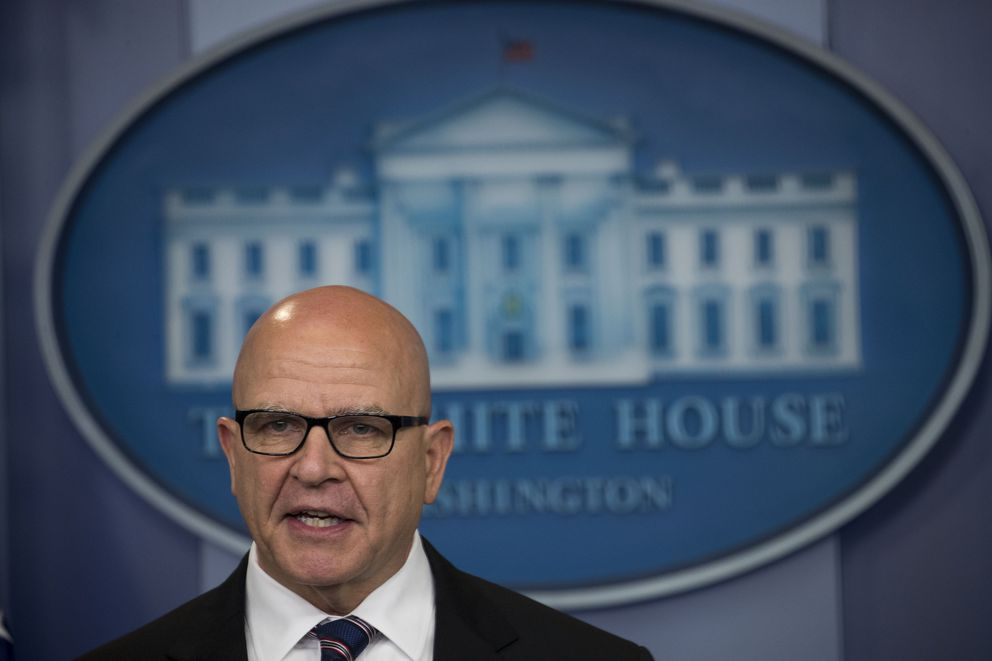 Lt. Gen. H. R. McMaster, national security advisor, during a news conference at the White House in Washington, May 16, 2017. President Trump on Tuesday defended his decision to share sensitive information about an Islamic State threat with Russian officials, and McMaster also offered a robust defense. (Doug Mills/The New York Times)