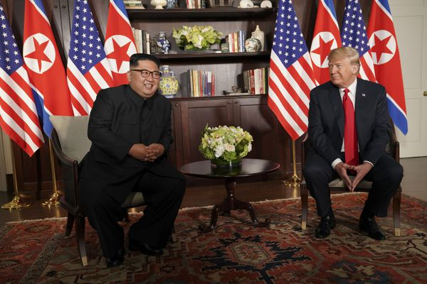 President Donald Trump and Kim Jong Un of North Korea at the beginning of their talks on Sentosa Island in Singapore, June 12, 2018. (Doug Mills/The New York Times)