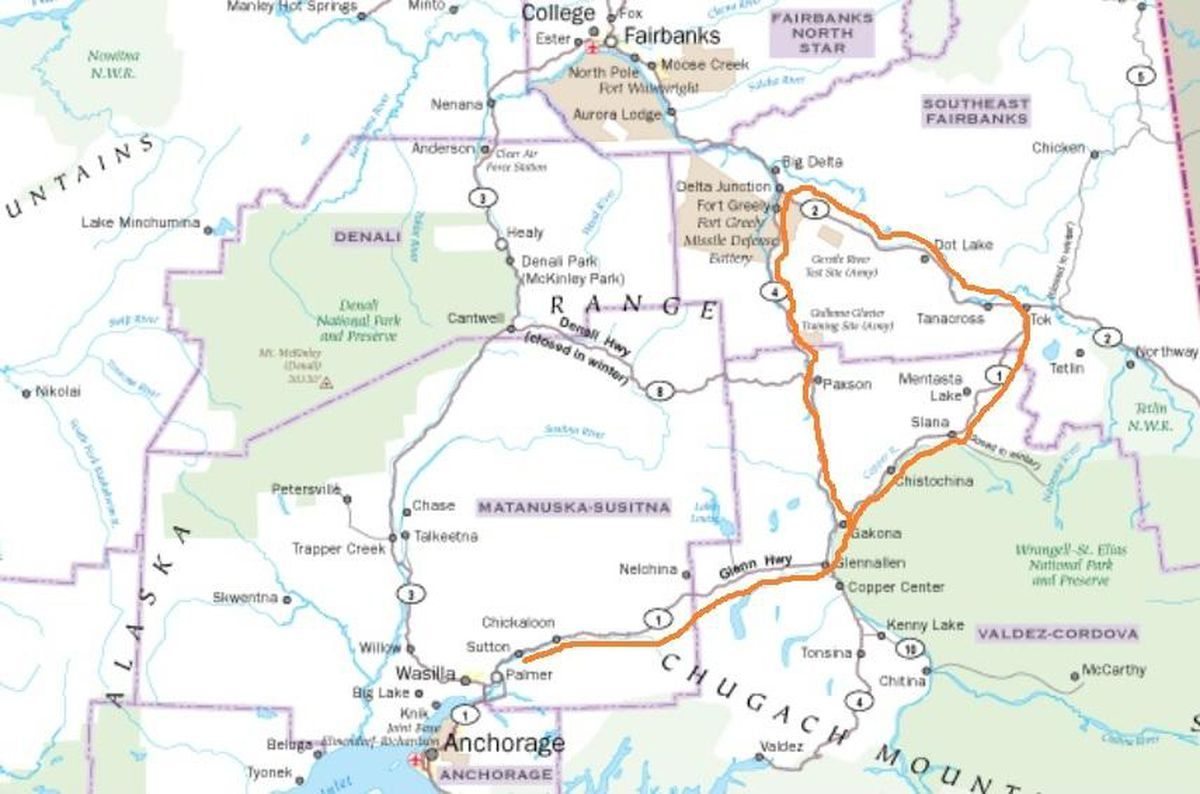 The proposed Road Belt Electrical Transmission Line route, approximated here with a copper-colored line, would run from Sutton to Glennallen along the Glenn Highway, then along the Tok Cutoff to the Alaska Highway and on to Delta Junction, then southward along the Richardson Highway to Gakona. (KUAC)