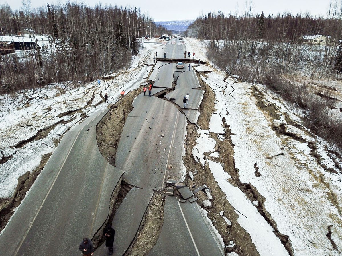 Vine Road near Wasilla was heavily damaged in the Nov. 30, 2018 earthquake. (Photo by Stefan Hinman / Matanuska-Susitna Borough)