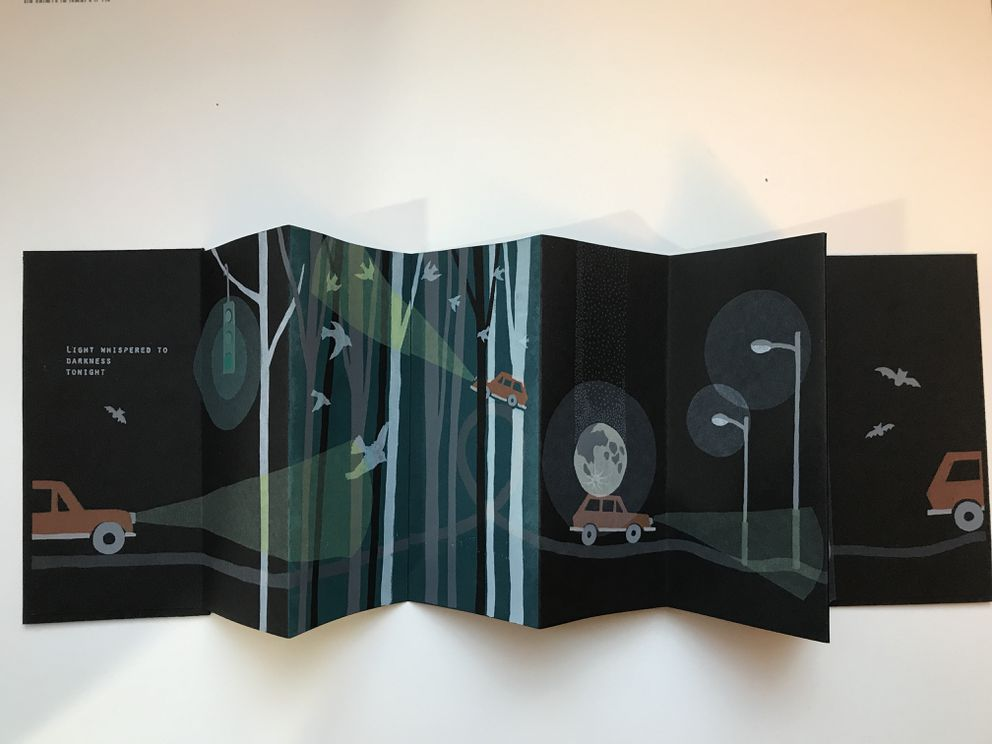 'Night Driving ' by Shoko Takahashi. Takahashi explores motion picture books with 'The Illusion of Motion in the Accordion Book. '