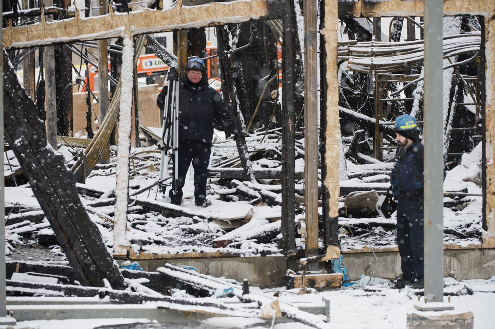 A response team from the Bureau of Alcohol, Tobacco, Firearms and Explosives investigated the scene of a fire at the Courtyard by Marriott construction site on Monday. (Marc Lester / ADN)