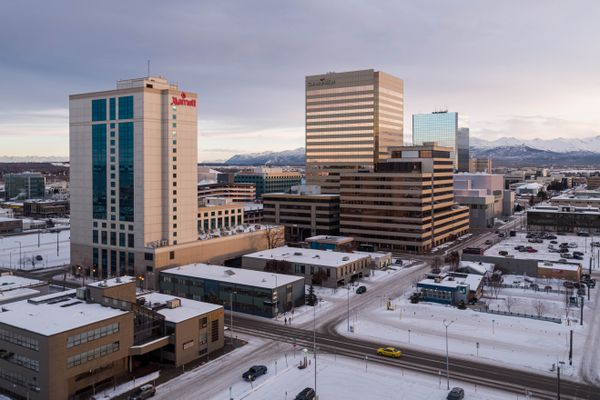 Downtown Anchorage, photographed on Friday, Jan. 8, 2021. (Loren Holmes / ADN)