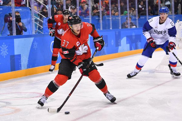 Feb 18, 2018; Gangneung, South Korea; Canada defenseman Mat Robinson (37) moves the puck against Republic of Korea in the second period during the Pyeongchang 2018 Olympic Winter Games at Gangneung Hockey Centre. Mandatory Credit: Andrew Nelles-USA TODAY Sports
