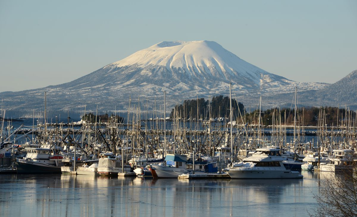 Mt. Edgecumbe provides the background for one of Sitka's harbors, Jan 12, 2020. (Anne Raup / ADN)
