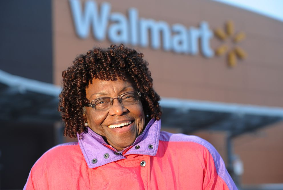 Rhoda Jackson, 94, works part time at the Walmart in Muldoon. (Bill Roth / ADN)