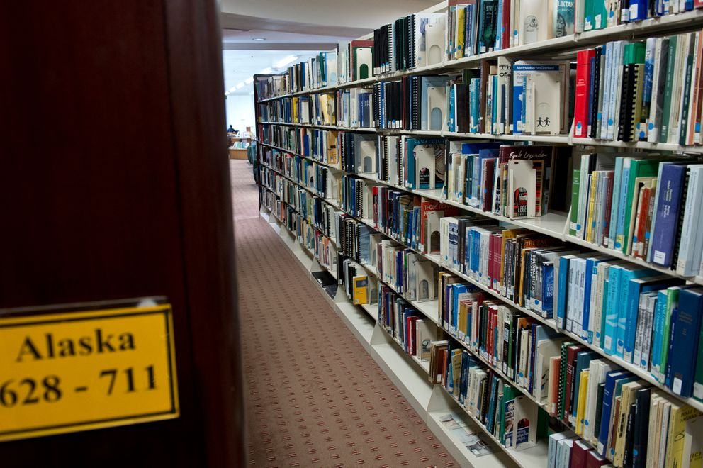 Much of the Alaska Collection at the Loussac Library is now on shelves on the library's third floor.  (Marc Lester / ADN)