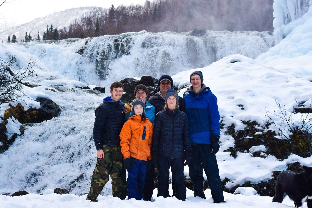 The Blom family at Tanalian Falls near Port Alsworth. (Courtesy Nate Davis)