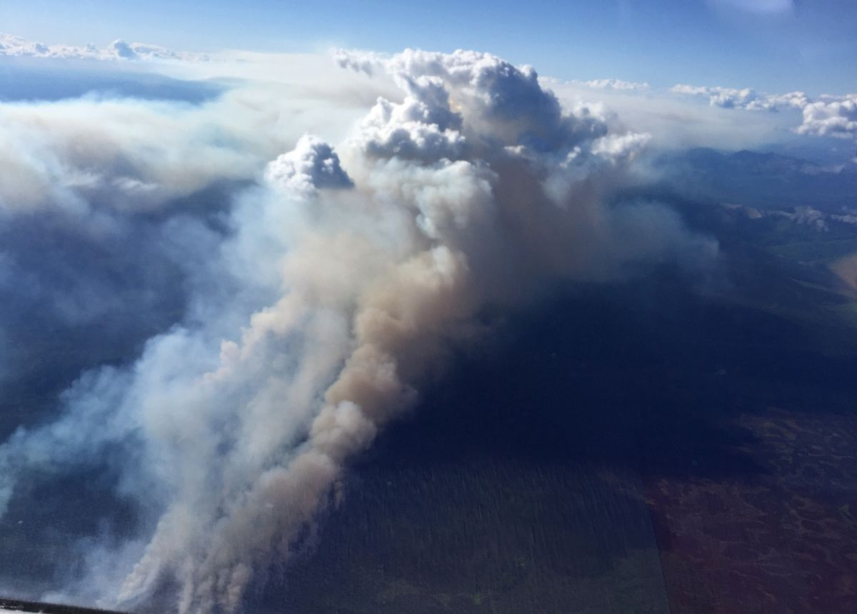 The smoke plume from the Medfra fire as seen on Monday. (Robert McCormick/Alaska Fire Service)