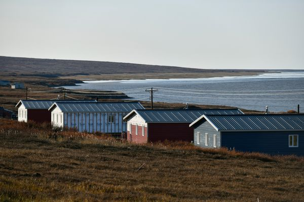 New homes overlook the Ninglick River in Mertarvik on October 12, 2019. Thirteen homes were built this year in Mertarvik, bringing the total to 21 homes in Mertarvik. (Marc Lester / ADN)