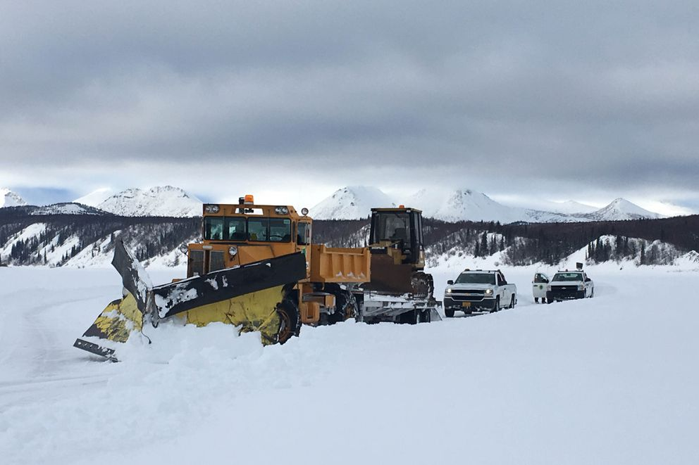 A plow clears the ice road between Aniak and Crooked Creek in March 2018. (Mark Leary photo)