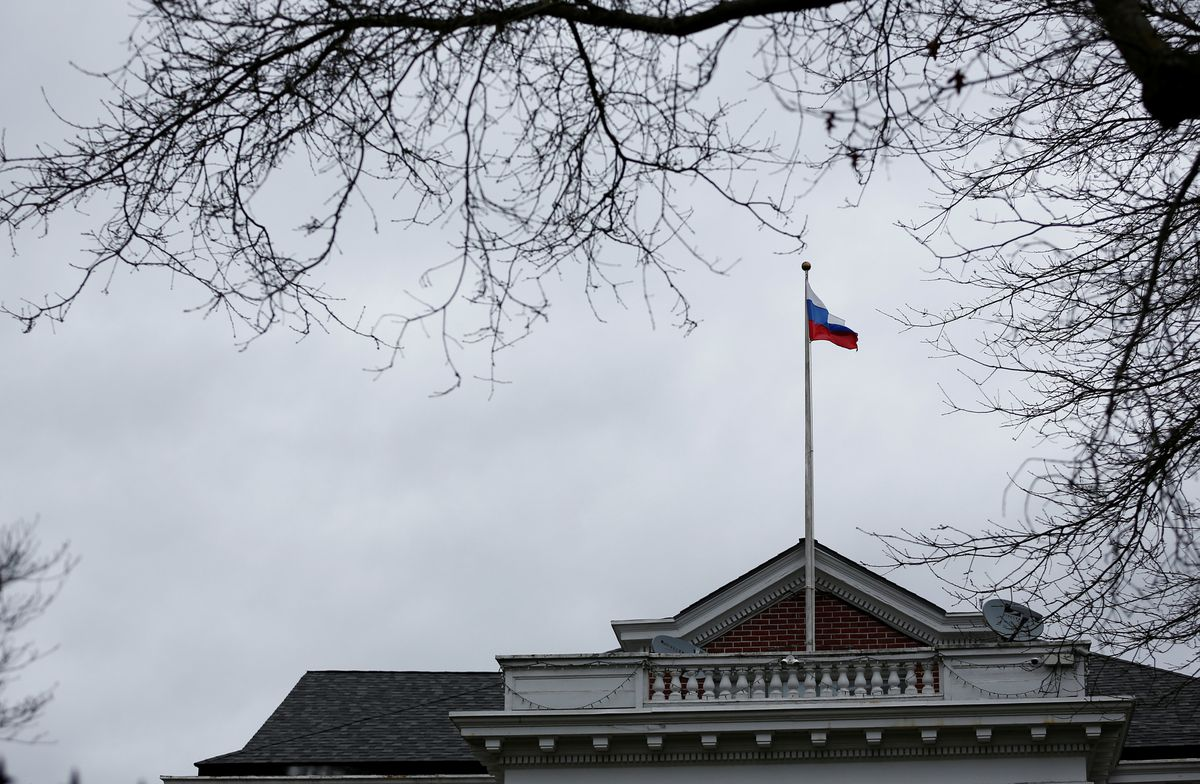 A Russian flag flies atop the Consulate General of the Russian Federation in Seattle, Washington, U.S., March 26, 2018. REUTERS/Lindsey Wasson