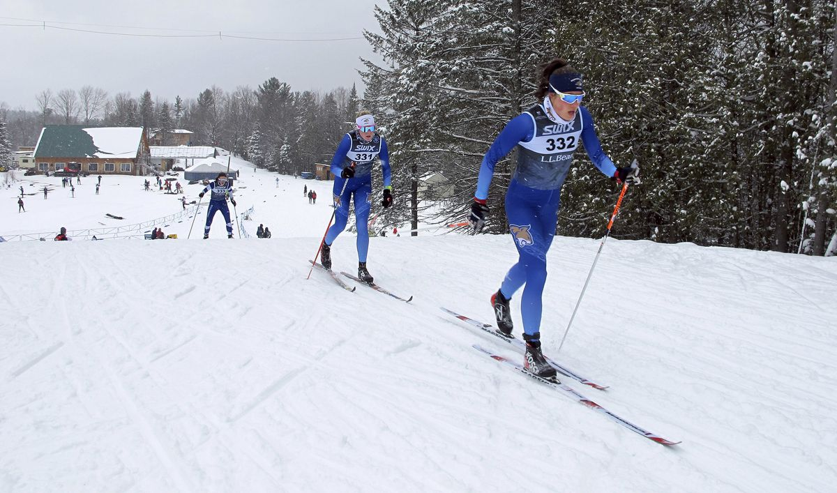 Emma Tarbath of Anchorage climbs a hill Thursday at the U.S. Cross Country Championships in Craftsbury, Vermont. Tarbath, who placed 50th, is among dozens of Alaskans competing in the race series. (AP Photo/Lisa Rathke)