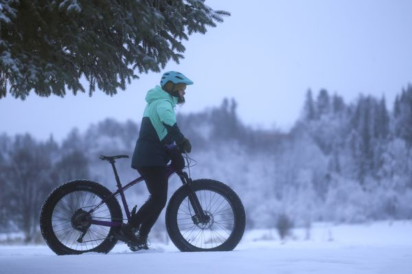A person waits for a friend while fat tire biking near Westchester Lagoon after fresh snow blanketed the area in Anchorage on Wednesday, Dec. 2, 2020. (Emily Mesner / ADN)