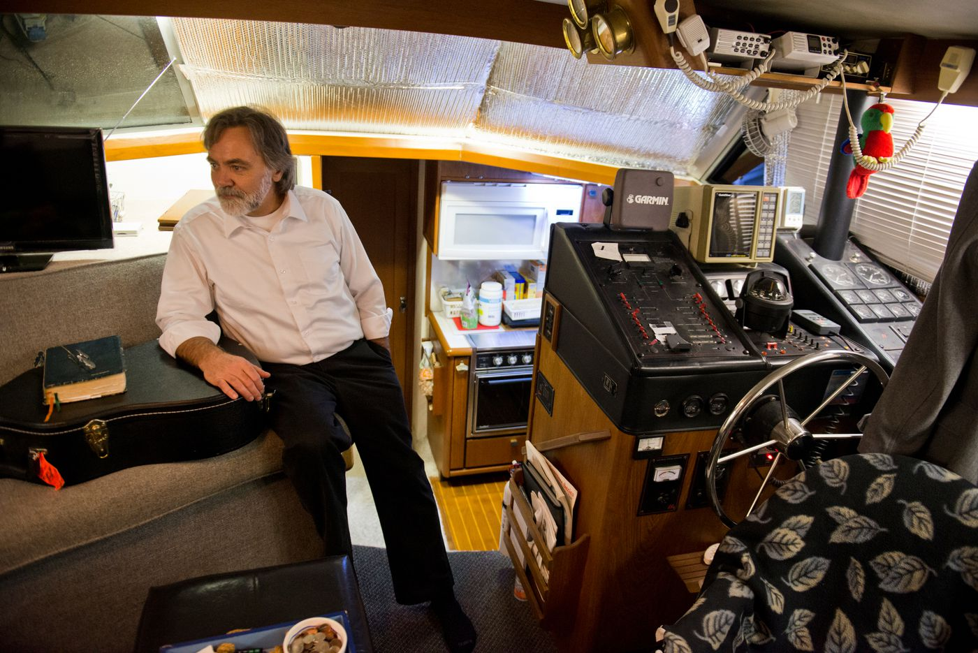 Randy Hoffbeck, commissioner of the Alaska Department of Revenue, who lives in Eagle River when he's not in Juneau, lives on his boat during the legislative session. He said he looked for housing in Juneau for months before buying the boat. (Marc Lester / Alaska Dispatch News)