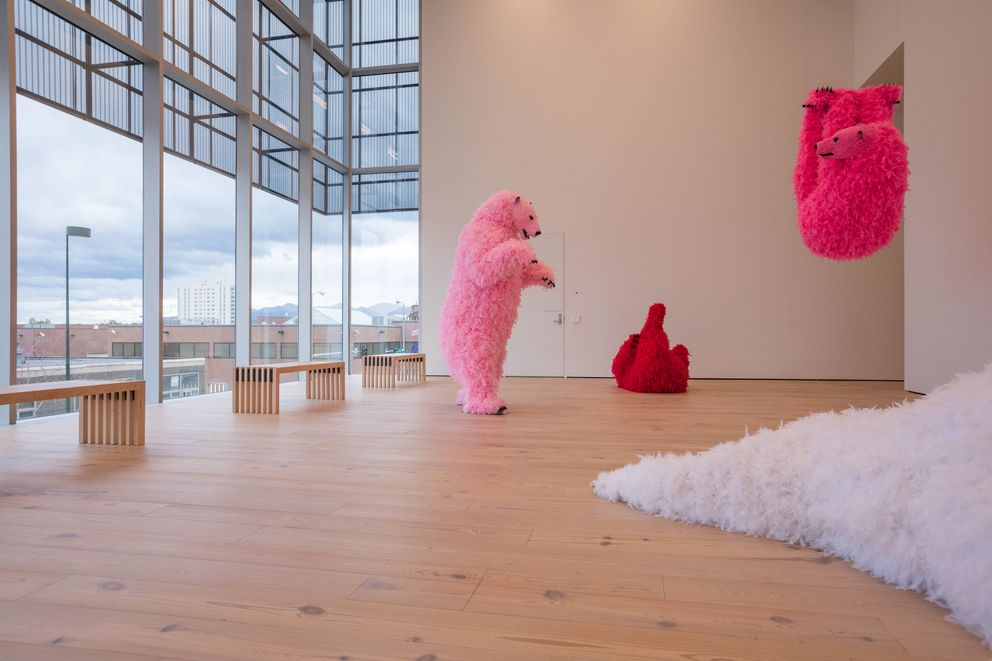 "Paola Pivi's piece ""Polar Bears"" in the Anchorage Museum's new Rasmuson Wing (Loren Holmes / Alaska Dispatch News)"