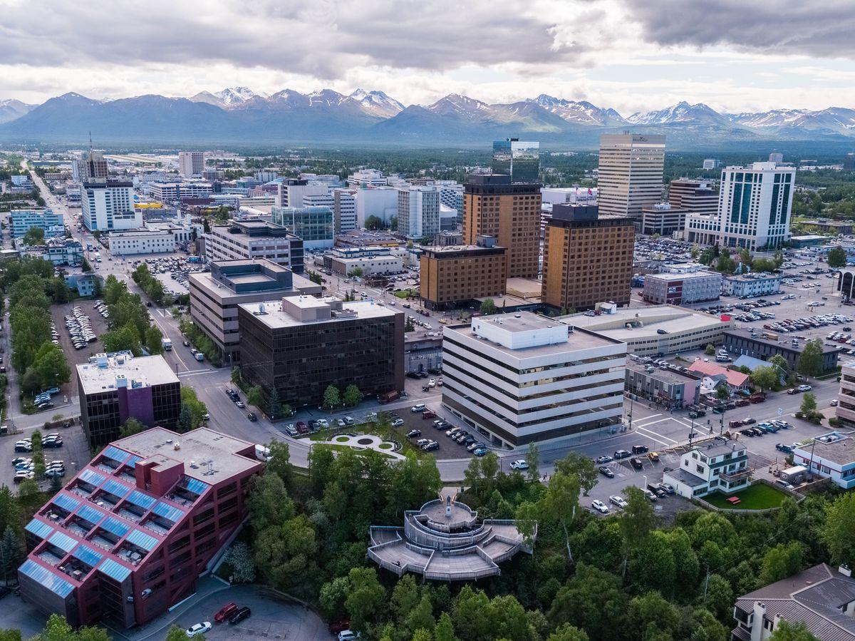 Downtown Anchorage, Alaska on June 12, 2018. (Loren Holmes / ADN)