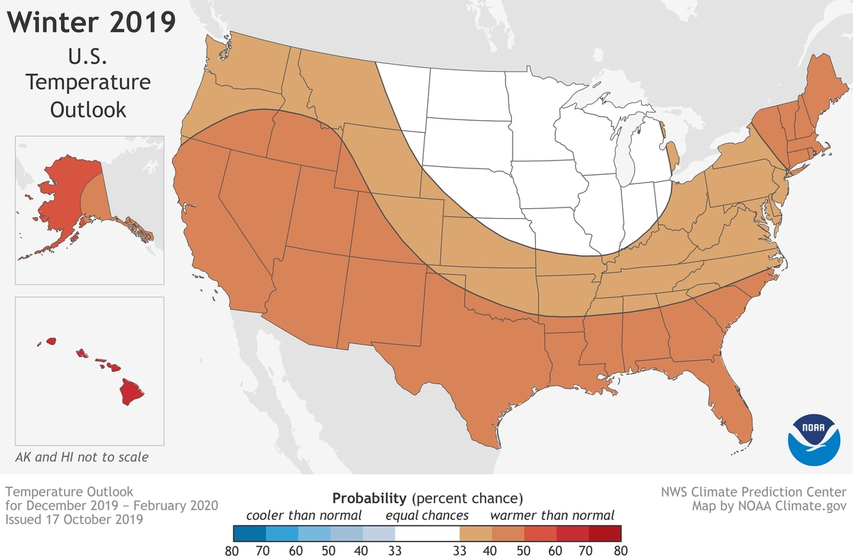 Higher than normal temperatures are expected for Alaska this winter, according to an outlook covering December-February from NOAA's Climate Prediction Center. (NOAA map)
