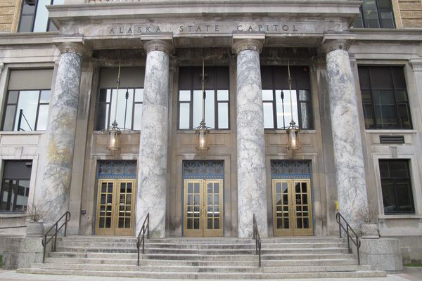 FILE - This April 2, 2012, file photo shows the front entrance of the Alaska state Capitol building in Juneau, Alaska. House Republicans are disavowing an attempt to swear in Sharon Jackson as a state representative, and she was not sworn in Tuesday, Jan. 15, 2019, with others amid bickering over procedures. Rep. David Talerico said House Republicans expect an official swearing in to take place on the House floor in accordance with state law and the constitution, referring to Jackson as a representative-appointee. (AP Photo/Becky Bohrer, File)