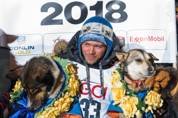 Joar Leifseth Ulsom sits for a photo with his lead dogs Russeren, left, and Olive after he won the Iditarod early Wednesday morning, March 14, 2018 in Nome. (Loren Holmes / ADN)