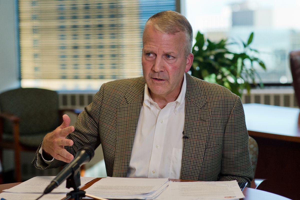 Sen. Dan Sullivanspeaking with news mediain his Anchorage office, Sept. 14, 2018. (Marc Lester / ADN)
