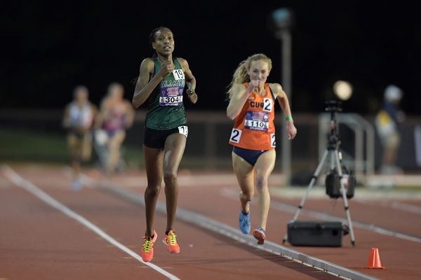 May 3, 2018; Stanford, CA, USA; Caroline Kurgat of Alaska Anchorage (left) defeats Paige Stoner of Syracuse to win a women's' 5,000m heat, 15:41.21 to 15:41.26, during the Payton Jordan Invitational at Cobb Track & Angell Field. Mandatory Credit: Kirby Lee-USA TODAY Sports