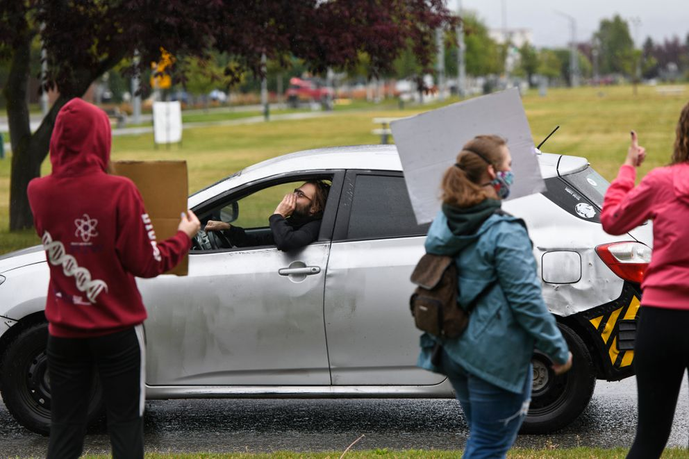 A driver voices support to a small anti-racism rally organized by teen students of Outer Coast Summer Seminar on July 24, 2020. (Marc Lester / ADN)