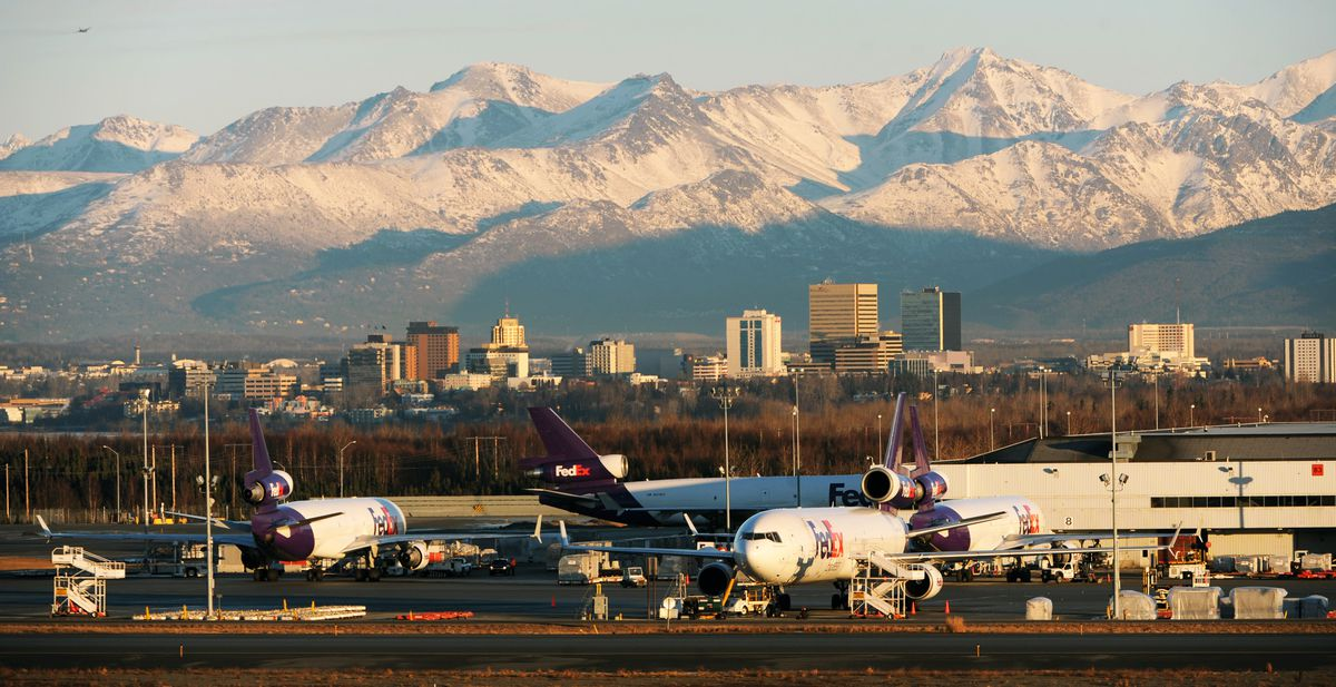 FedEx jets at Ted Stevens Anchorage International Airport, January 6, 2016, in a view from Point Woronzof Road. (ADN archive)