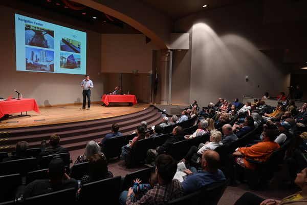 Mayor-elect Dave Bronson transition team leader for homelessness Dr. John Morris unveiled plans for a Navigation Center for the homeless to citizens and answered questions in the Wilda Marston Theater on Thursday, June 17, 2021. (Bill Roth / ADN)