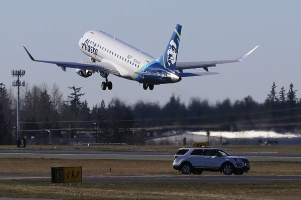 An Alaska Airlines Embraer 175 airplane bound for Portland, Ore., takes off Monday, March 4, 2019, at Paine Field in Everett, Wash. The flight was the first flight on the inaugural day for commercial passenger flights from the airport. Alaska Airlines began scheduled flights Monday, and United Airlines will begin commercial flights on March 31, 2019. (AP Photo/Ted S. Warren)