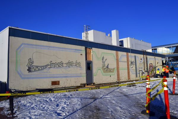 This Tuesday, Jan. 15, 2019 photo shows a mural painted in 1977 at the Kenai Municipal Airport by advanced art students from a local high school in in Kenai, Alaska. The mural was discovered Tuesday by construction crews working on a remodel of the airport. (Victoria Petersen/Peninsula Clarion via AP)